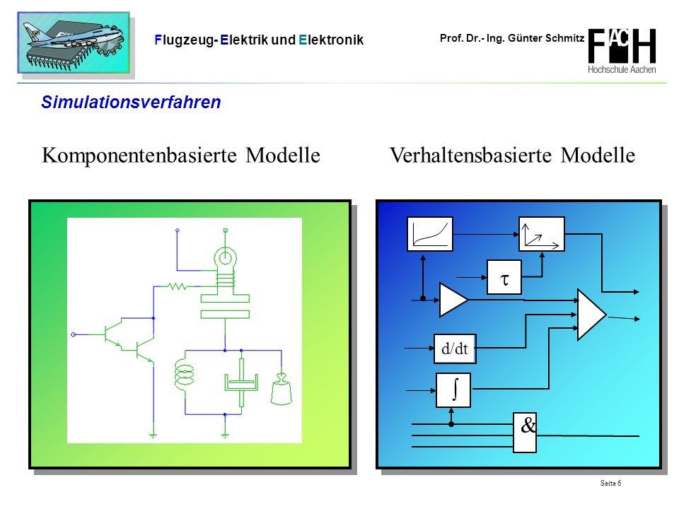 Prof. Dr.- Ing. Günter Schmitz Flugzeug- Elektrik und Elektronik Seite 6 Simulationsverfahren Verhaltensbasierte ModelleKomponentenbasierte Modelle d/