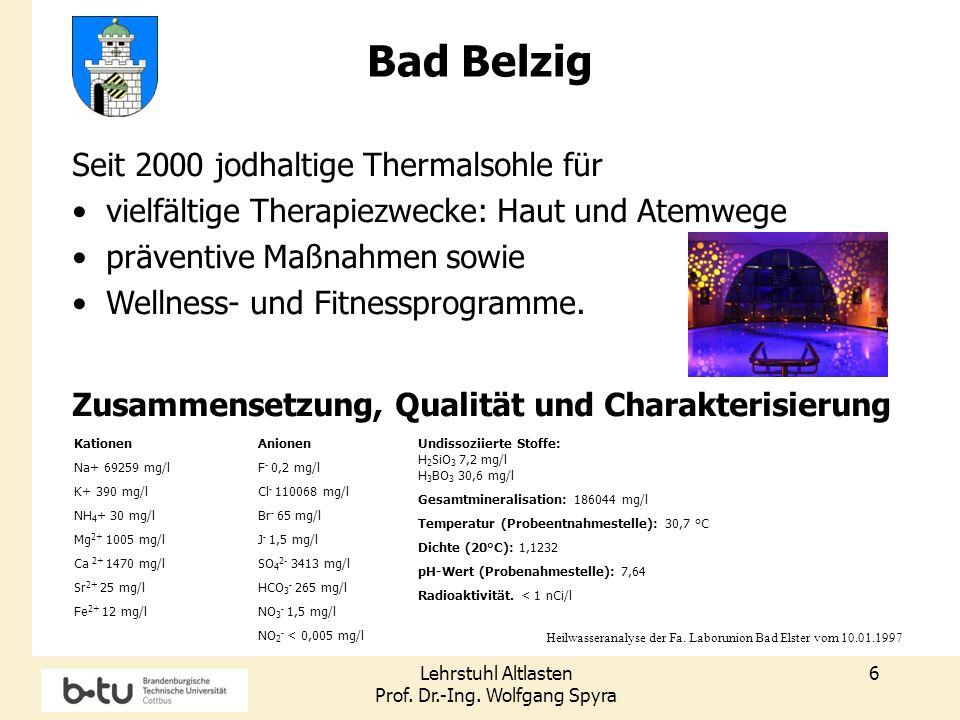 Lehrstuhl Altlasten Prof. Dr.-Ing. Wolfgang Spyra 6 Kationen Na+ 69259 mg/l K+ 390 mg/l NH 4 + 30 mg/l Mg 2+ 1005 mg/l Ca 2+ 1470 mg/l Sr 2+ 25 mg/l F