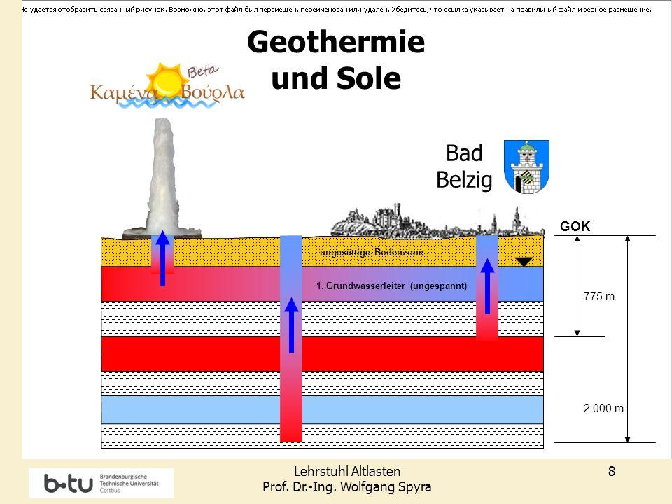 Lehrstuhl Altlasten Prof. Dr.-Ing. Wolfgang Spyra 8 GOK 1. Grundwasserleiter (ungespannt) Grundwasserfließric htung ungesättige Bodenzone 775 m Bad Be