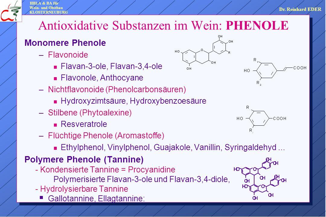 Monomere Phenole –Flavonoide n Flavan-3-ole, Flavan-3,4-ole n Flavonole, Anthocyane –Nichtflavonoide (Phenolcarbonsäuren) n Hydroxyzimtsäure, Hydroxybenzoesäure –Stilbene (Phytoalexine) n Resveratrole –Flüchtige Phenole (Aromastoffe) n Ethylphenol, Vinylphenol, Guajakole, Vanillin, Syringaldehyd...