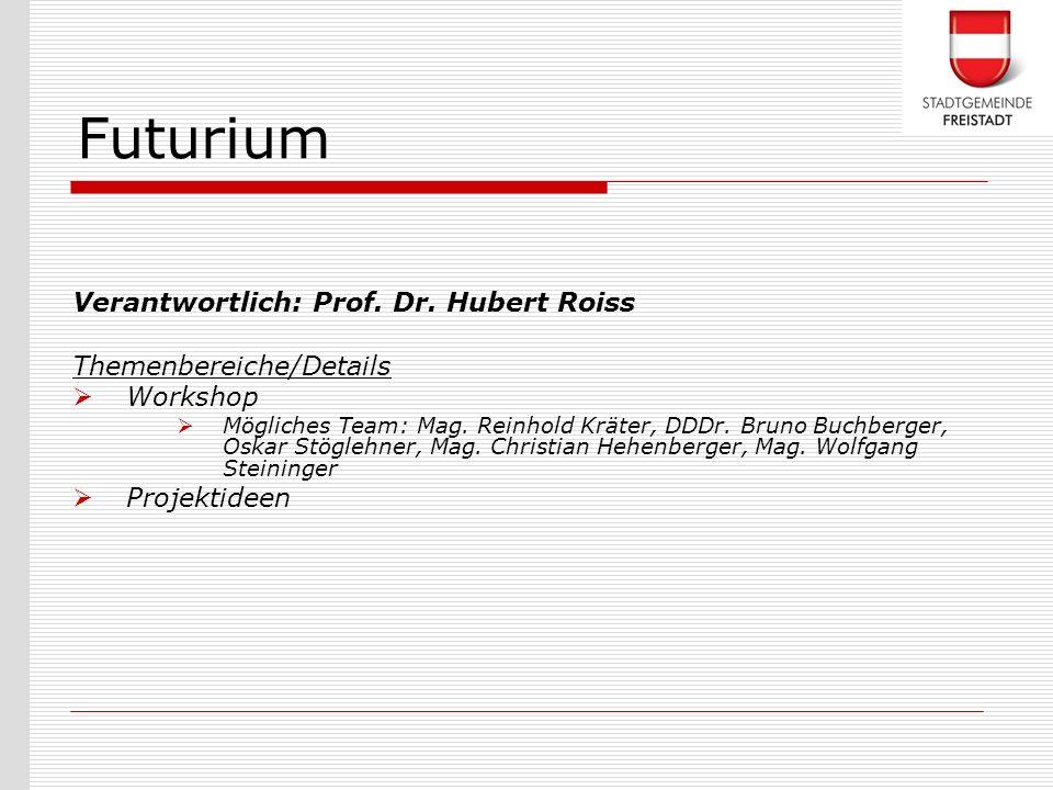 Verantwortlich: Prof. Dr. Hubert Roiss Themenbereiche/Details Workshop Mögliches Team: Mag. Reinhold Kräter, DDDr. Bruno Buchberger, Oskar Stöglehner,