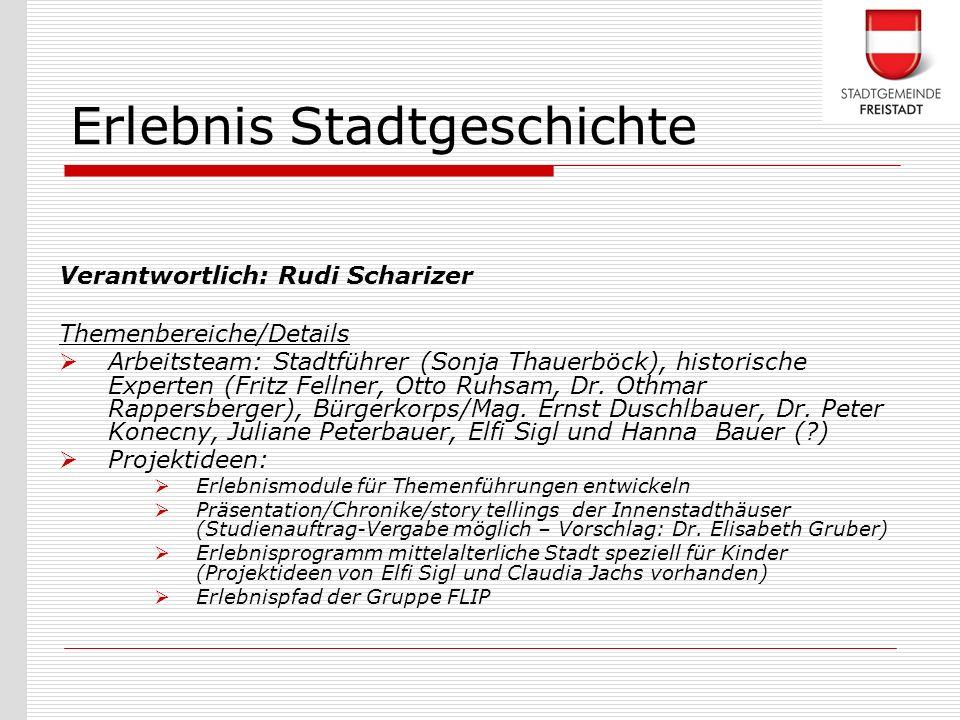 Verantwortlich: Rudi Scharizer Themenbereiche/Details Arbeitsteam: Stadtführer (Sonja Thauerböck), historische Experten (Fritz Fellner, Otto Ruhsam, D