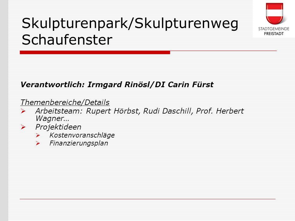 Verantwortlich: Irmgard Rinösl/DI Carin Fürst Themenbereiche/Details Arbeitsteam: Rupert Hörbst, Rudi Daschill, Prof. Herbert Wagner… Projektideen Kos