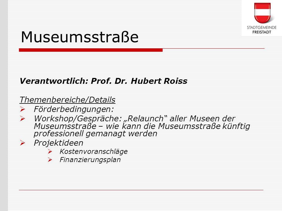 Verantwortlich: Prof. Dr. Hubert Roiss Themenbereiche/Details Förderbedingungen: Workshop/Gespräche: Relaunch aller Museen der Museumsstraße – wie kan