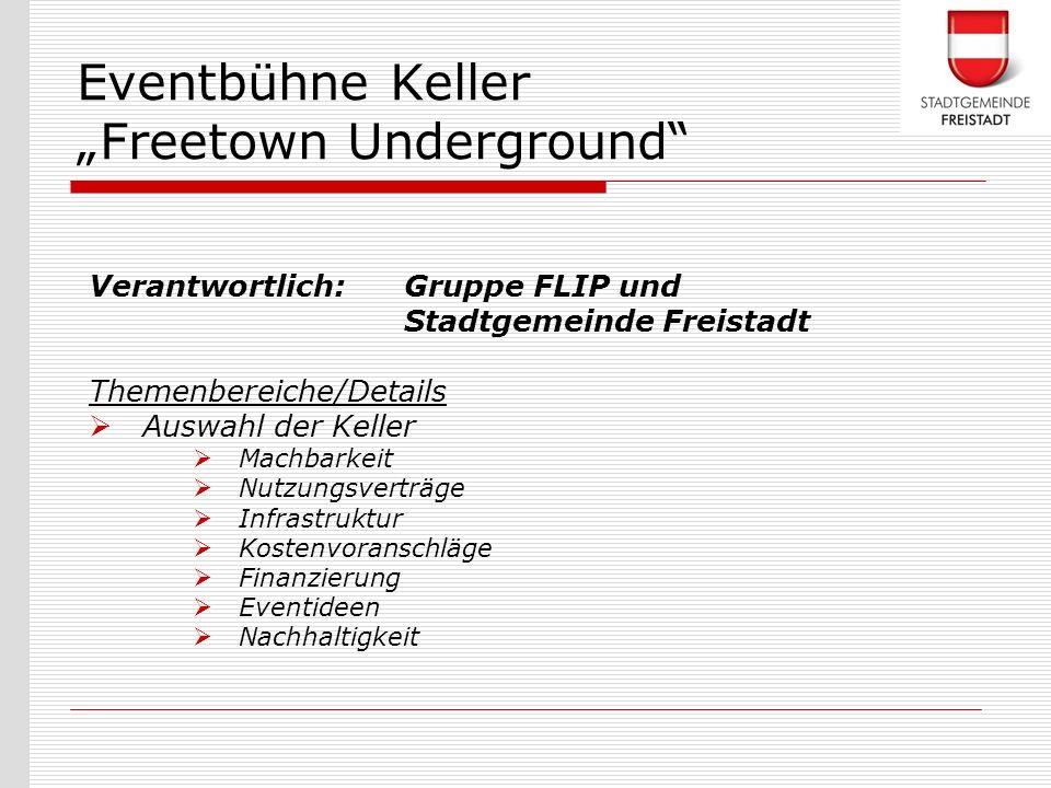 Verantwortlich: Gruppe FLIP und Stadtgemeinde Freistadt Themenbereiche/Details Auswahl der Keller Machbarkeit Nutzungsverträge Infrastruktur Kostenvor
