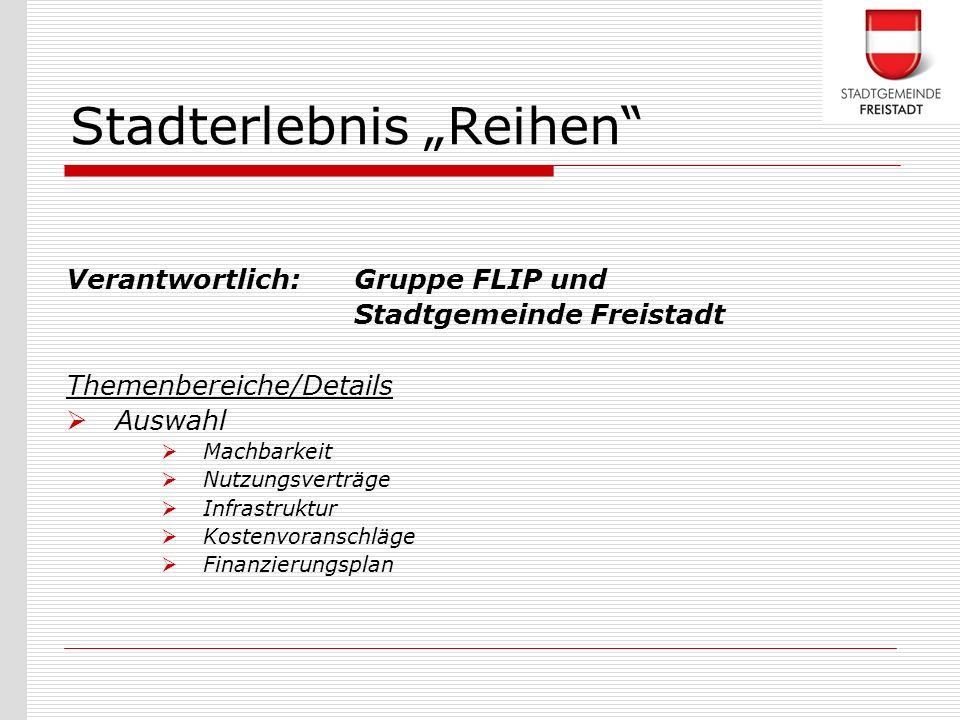 Verantwortlich: Gruppe FLIP und Stadtgemeinde Freistadt Themenbereiche/Details Auswahl Machbarkeit Nutzungsverträge Infrastruktur Kostenvoranschläge F