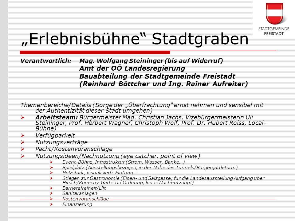 Verantwortlich: Mag. Wolfgang Steininger (bis auf Widerruf) Amt der OÖ Landesregierung Bauabteilung der Stadtgemeinde Freistadt (Reinhard Böttcher und