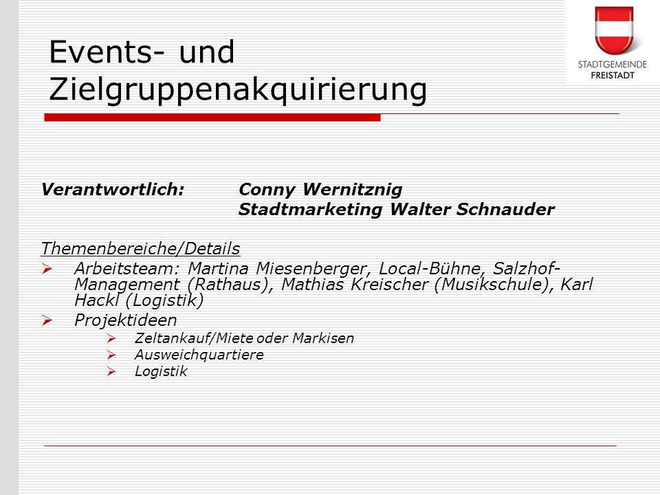 Verantwortlich: Conny Wernitznig Stadtmarketing Walter Schnauder Themenbereiche/Details Arbeitsteam: Martina Miesenberger, Local-Bühne, Salzhof- Manag