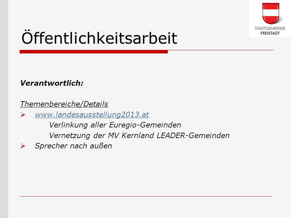 Verantwortlich: Themenbereiche/Details www.landesausstellung2013.at Verlinkung aller Euregio-Gemeinden Vernetzung der MV Kernland LEADER-Gemeinden Spr