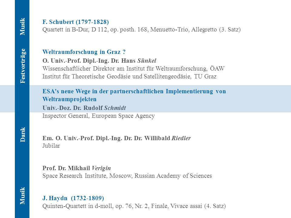 F. Schubert (1797-1828) Quartett in B-Dur, D 112, op. posth. 168, Menuetto-Trio, Allegretto (3. Satz) Weltraumforschung in Graz ? O. Univ.-Prof. Dipl.