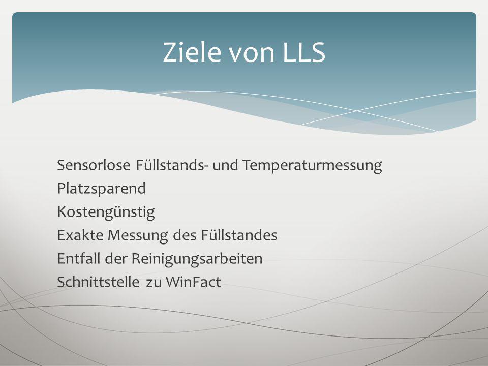 Sensorlose Füllstands- und Temperaturmessung Platzsparend Kostengünstig Exakte Messung des Füllstandes Entfall der Reinigungsarbeiten Schnittstelle zu