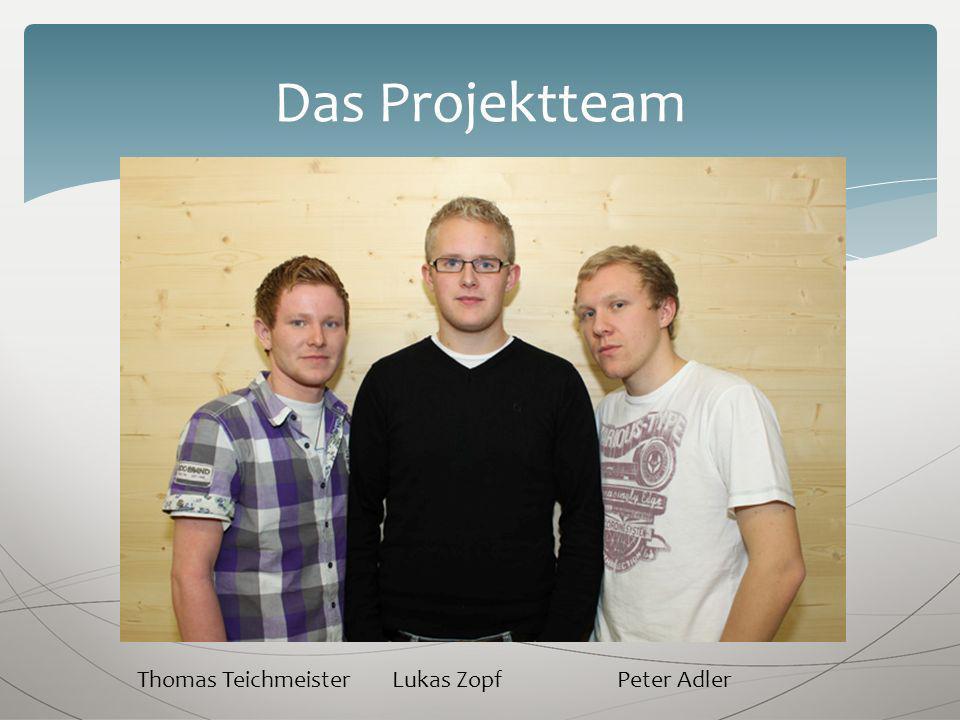 Das Projektteam Thomas Teichmeister Lukas ZopfPeter Adler