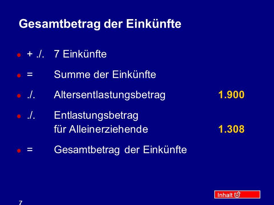 Inhalt 8 Zu versteuerndes Einkommen Gesamtbetrag der Einkünfte./.Verlustabzug./.Sonderausgaben./.außergewöhnliche Belastungen =Einkommen./.Kinderfreibetrag7.008 =zu versteuerndes Einkommen