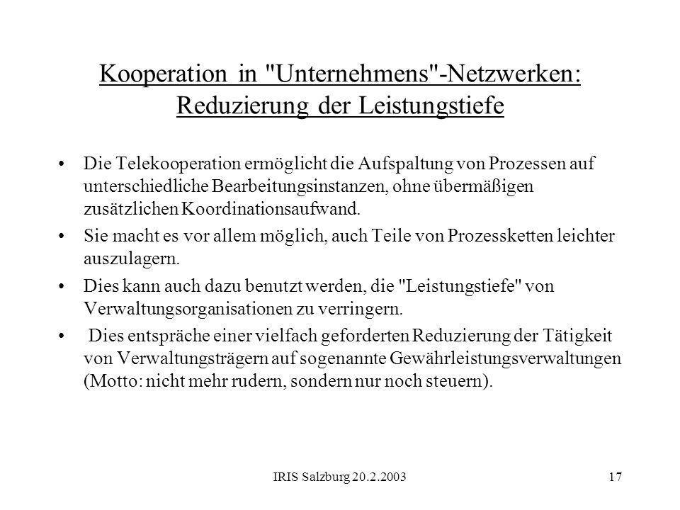 IRIS Salzburg 20.2.200317 Kooperation in