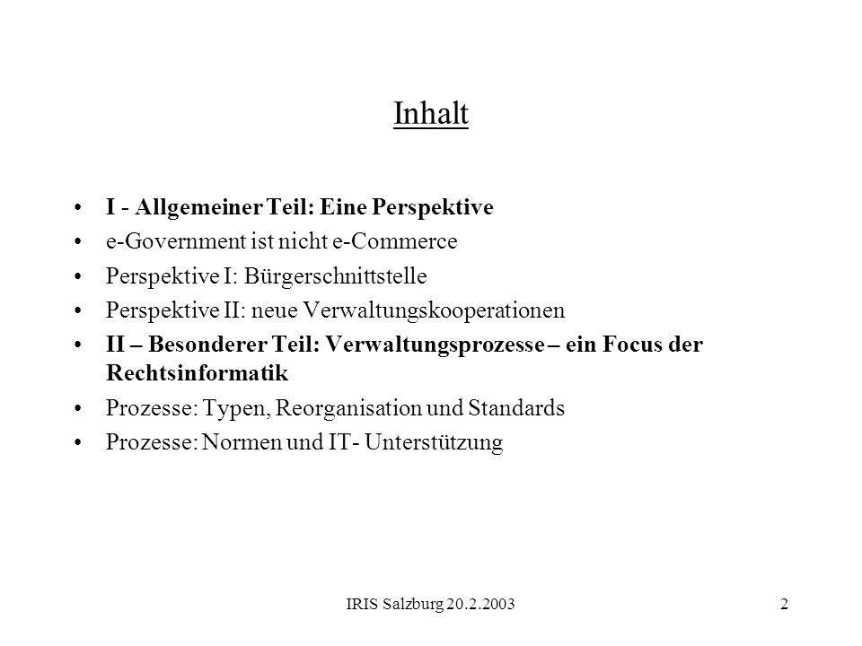 IRIS Salzburg 20.2.20032 Inhalt I - Allgemeiner Teil: Eine Perspektive e-Government ist nicht e-Commerce Perspektive I: Bürgerschnittstelle Perspektiv