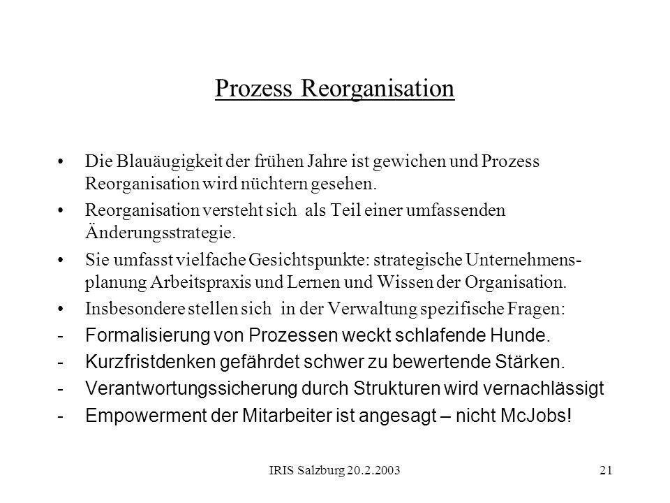 IRIS Salzburg 20.2.200321 Prozess Reorganisation Die Blauäugigkeit der frühen Jahre ist gewichen und Prozess Reorganisation wird nüchtern gesehen. Reo