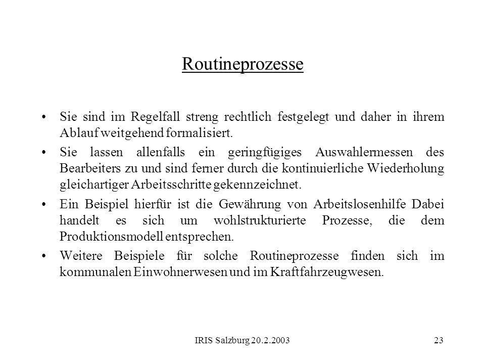 IRIS Salzburg 20.2.200323 Routineprozesse Sie sind im Regelfall streng rechtlich festgelegt und daher in ihrem Ablauf weitgehend formalisiert. Sie las