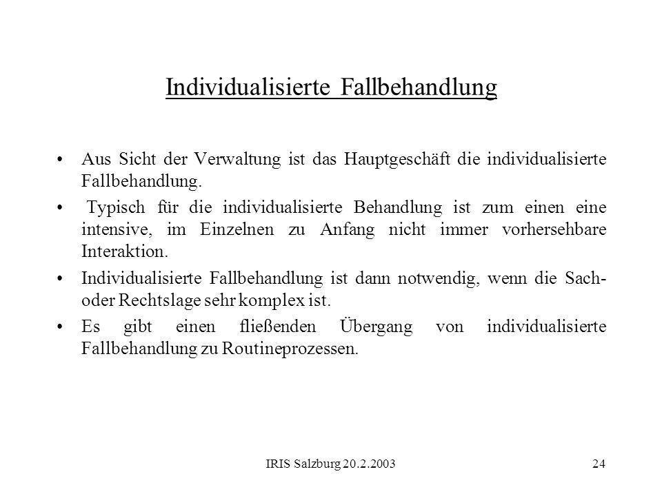 IRIS Salzburg 20.2.200324 Individualisierte Fallbehandlung Aus Sicht der Verwaltung ist das Hauptgeschäft die individualisierte Fallbehandlung. Typisc