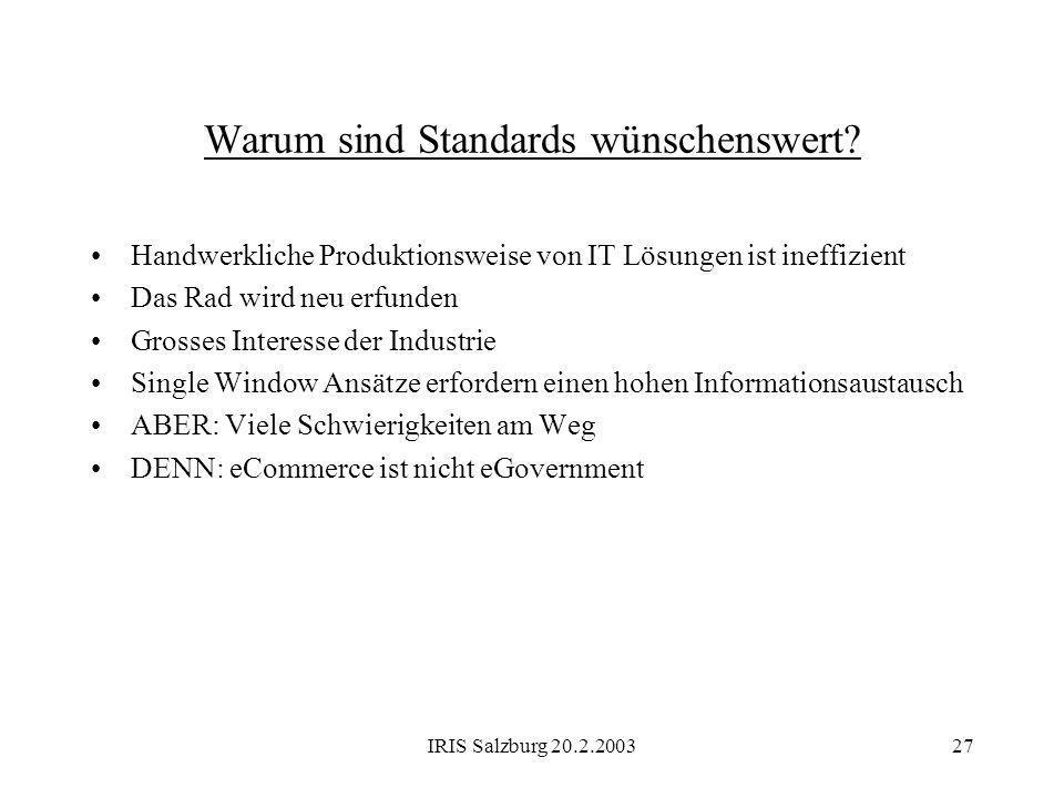 IRIS Salzburg 20.2.200327 Warum sind Standards wünschenswert? Handwerkliche Produktionsweise von IT Lösungen ist ineffizient Das Rad wird neu erfunden