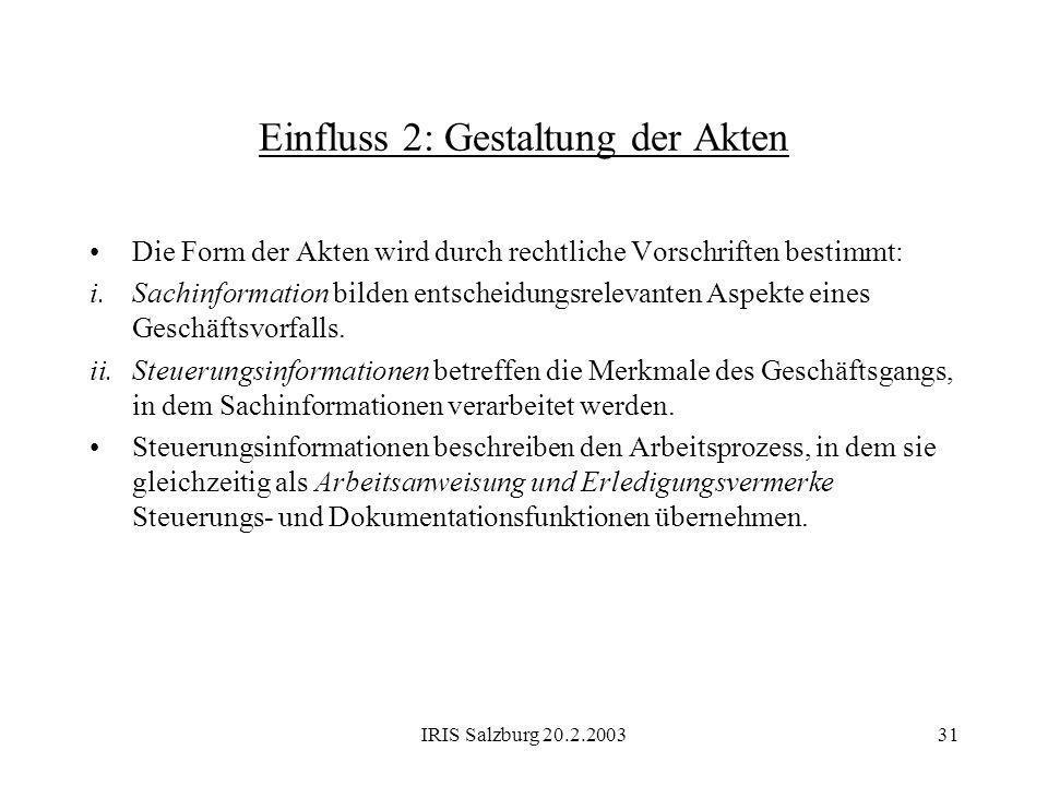 IRIS Salzburg 20.2.200331 Einfluss 2: Gestaltung der Akten Die Form der Akten wird durch rechtliche Vorschriften bestimmt: i.Sachinformation bilden en