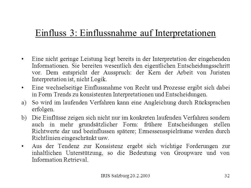IRIS Salzburg 20.2.200332 Einfluss 3: Einflussnahme auf Interpretationen Eine nicht geringe Leistung liegt bereits in der Interpretation der eingehend
