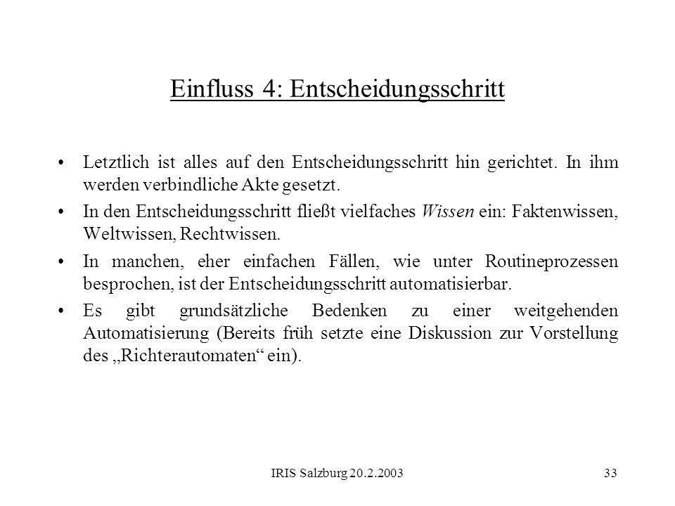 IRIS Salzburg 20.2.200333 Einfluss 4: Entscheidungsschritt Letztlich ist alles auf den Entscheidungsschritt hin gerichtet. In ihm werden verbindliche