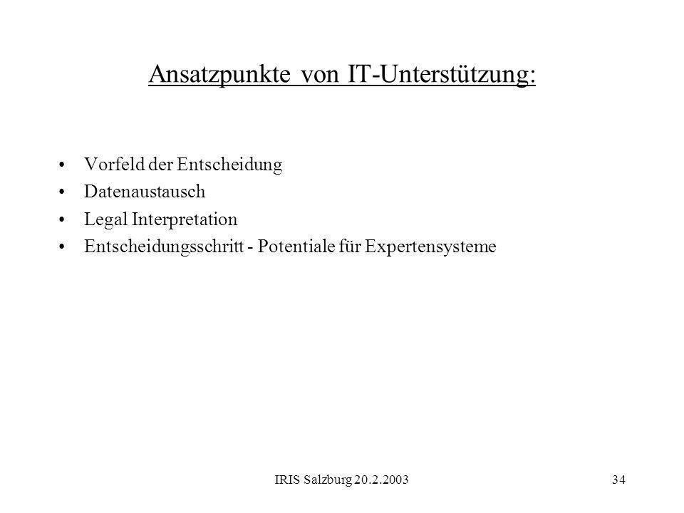 IRIS Salzburg 20.2.200334 Ansatzpunkte von IT-Unterstützung: Vorfeld der Entscheidung Datenaustausch Legal Interpretation Entscheidungsschritt - Poten