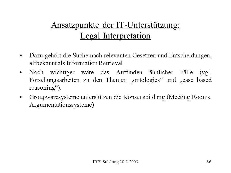 IRIS Salzburg 20.2.200336 Ansatzpunkte der IT-Unterstützung: Legal Interpretation Dazu gehört die Suche nach relevanten Gesetzen und Entscheidungen, a
