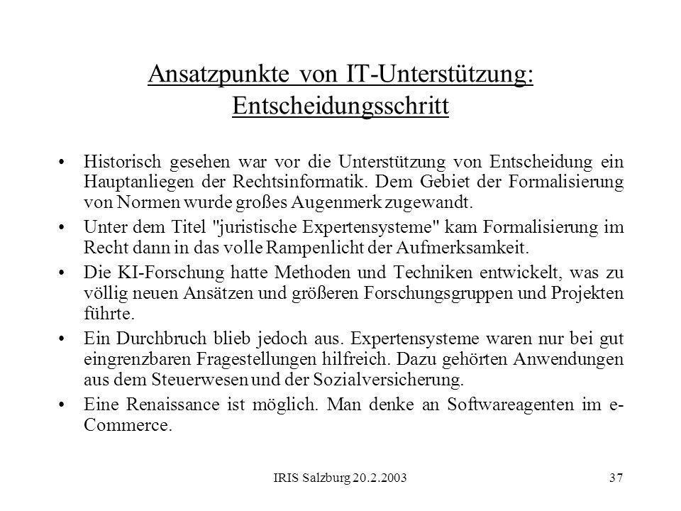 IRIS Salzburg 20.2.200337 Ansatzpunkte von IT-Unterstützung: Entscheidungsschritt Historisch gesehen war vor die Unterstützung von Entscheidung ein Ha