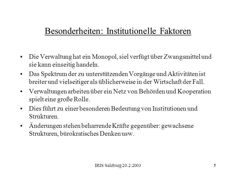 IRIS Salzburg 20.2.20035 Besonderheiten: Institutionelle Faktoren Die Verwaltung hat ein Monopol, siel verfügt über Zwangsmittel und sie kann einseiti