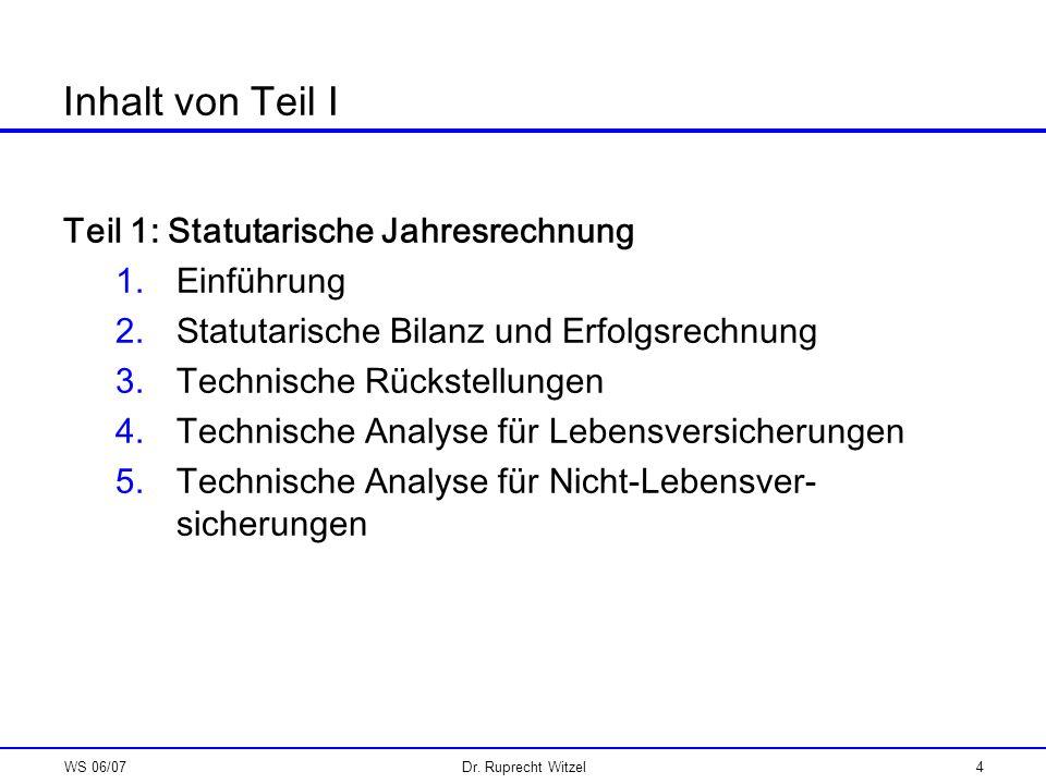 WS 06/07Dr. Ruprecht Witzel4 Inhalt von Teil I Teil 1: Statutarische Jahresrechnung 1.Einführung 2.Statutarische Bilanz und Erfolgsrechnung 3.Technisc