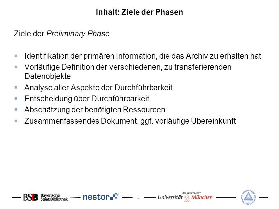 5 Inhalt: Ziele der Phasen Ziele der Preliminary Phase Identifikation der primären Information, die das Archiv zu erhalten hat Vorläufige Definition d