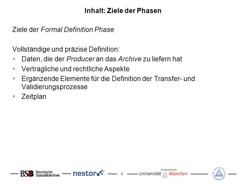 6 Inhalt: Ziele der Phasen Ziele der Formal Definition Phase Vollständige und präzise Definition: Daten, die der Producer an das Archive zu liefern ha