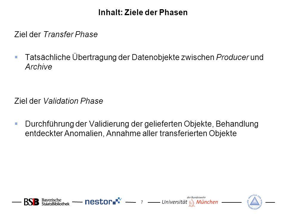 7 Inhalt: Ziele der Phasen Ziel der Transfer Phase Tatsächliche Übertragung der Datenobjekte zwischen Producer und Archive Ziel der Validation Phase D