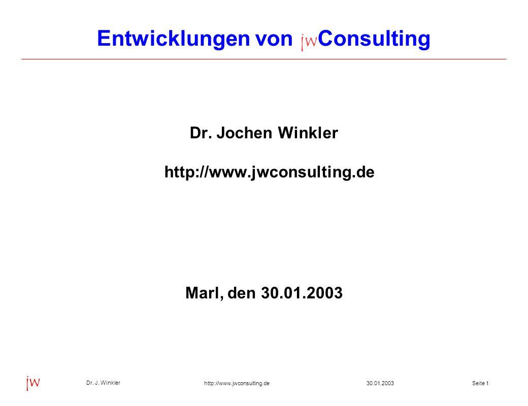 Seite 2230.01.2003 Dr. J. Winkler jw http://www.jwconsulting.de Inhalt Projekte Entwicklungen
