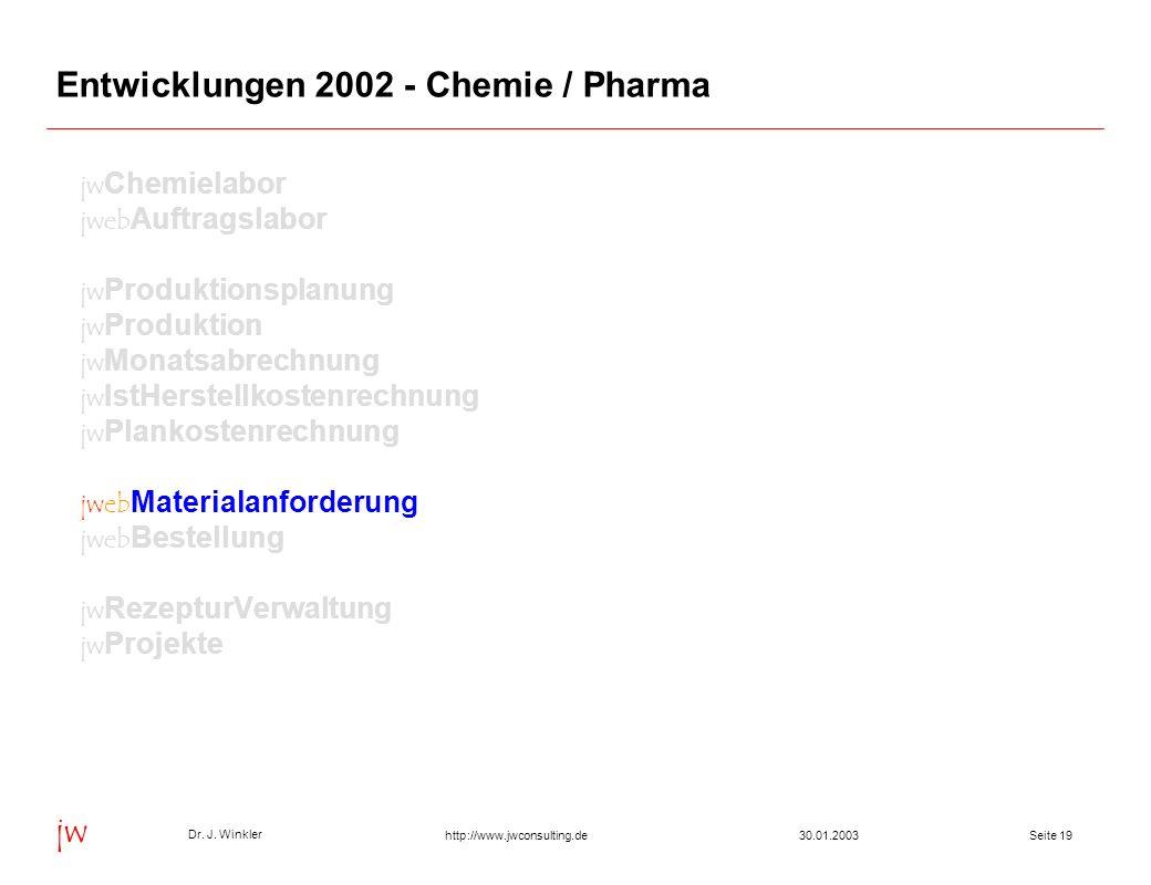Seite 1930.01.2003 Dr. J. Winkler jw http://www.jwconsulting.de Entwicklungen 2002 - Chemie / Pharma jw Chemielabor jweb Auftragslabor jw Produktionsp