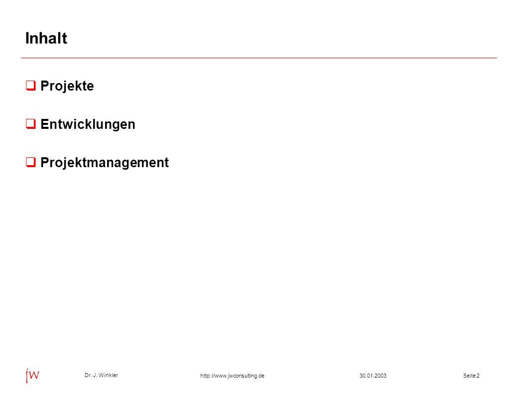 Seite 230.01.2003 Dr. J. Winkler jw http://www.jwconsulting.de Inhalt Projekte Entwicklungen Projektmanagement