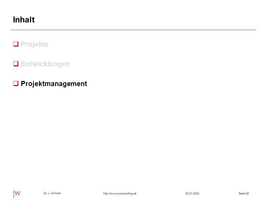 Seite 2830.01.2003 Dr. J. Winkler jw http://www.jwconsulting.de Inhalt Projekte Entwicklungen Projektmanagement