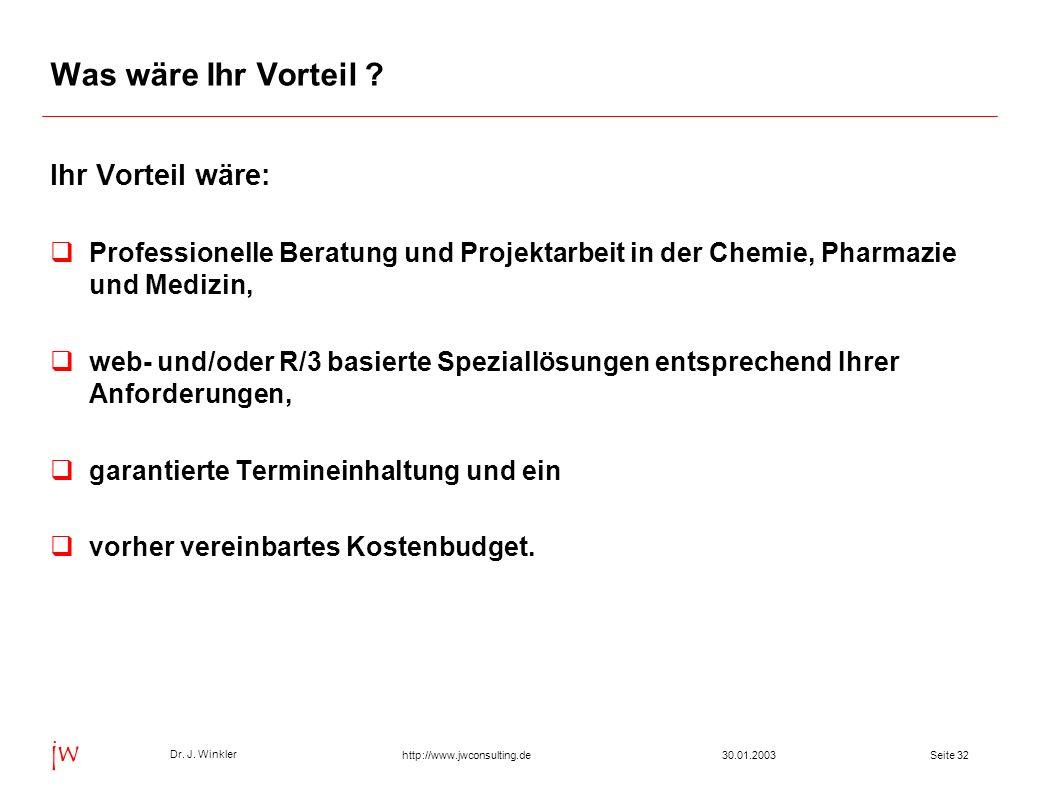 Seite 3230.01.2003 Dr. J. Winkler jw http://www.jwconsulting.de Was wäre Ihr Vorteil ? Ihr Vorteil wäre: Professionelle Beratung und Projektarbeit in