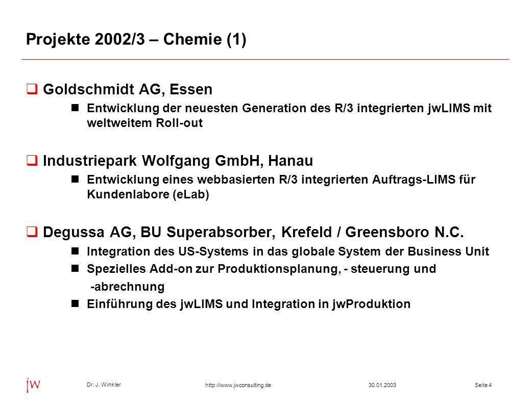 Seite 430.01.2003 Dr. J. Winkler jw http://www.jwconsulting.de Projekte 2002/3 – Chemie (1) Goldschmidt AG, Essen Entwicklung der neuesten Generation