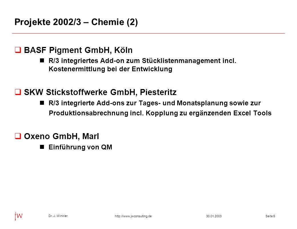 Seite 2630.01.2003 Dr. J. Winkler jw http://www.jwconsulting.de Inhalt Projekte Entwicklungen