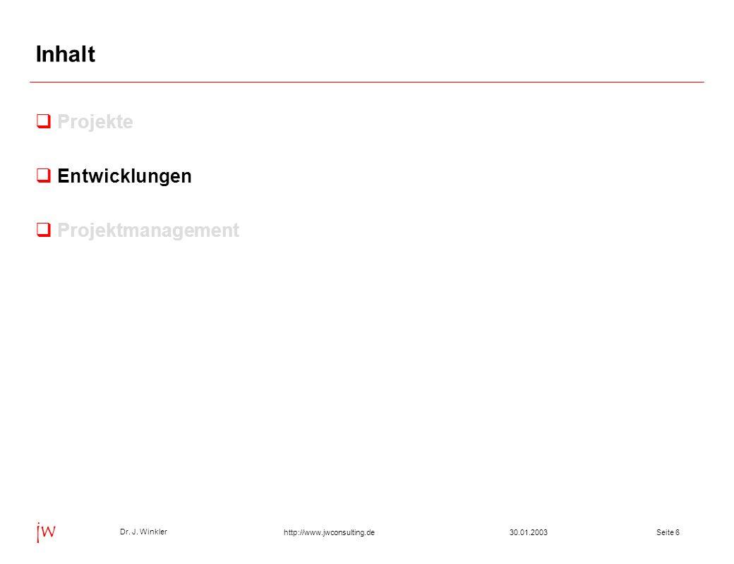 Seite 630.01.2003 Dr. J. Winkler jw http://www.jwconsulting.de Inhalt Projekte Entwicklungen Projektmanagement