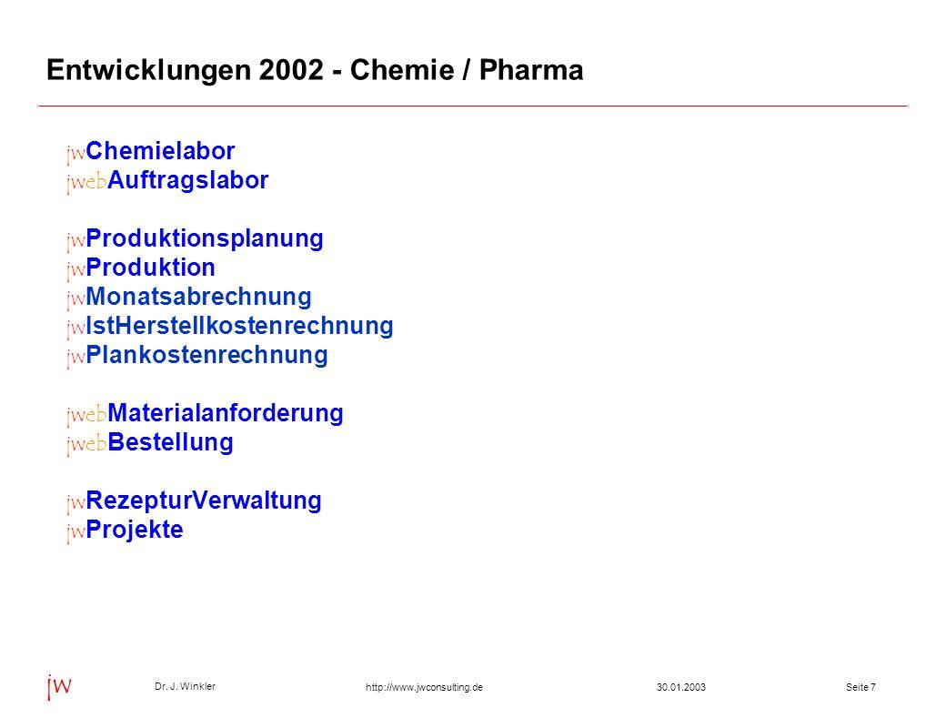 Seite 730.01.2003 Dr. J. Winkler jw http://www.jwconsulting.de Entwicklungen 2002 - Chemie / Pharma jw Chemielabor jweb Auftragslabor jw Produktionspl