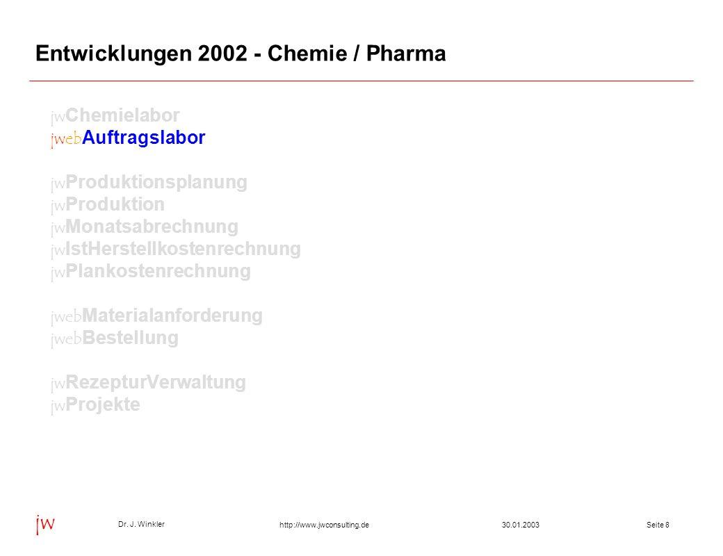Seite 830.01.2003 Dr. J. Winkler jw http://www.jwconsulting.de Entwicklungen 2002 - Chemie / Pharma jw Chemielabor jweb Auftragslabor jw Produktionspl