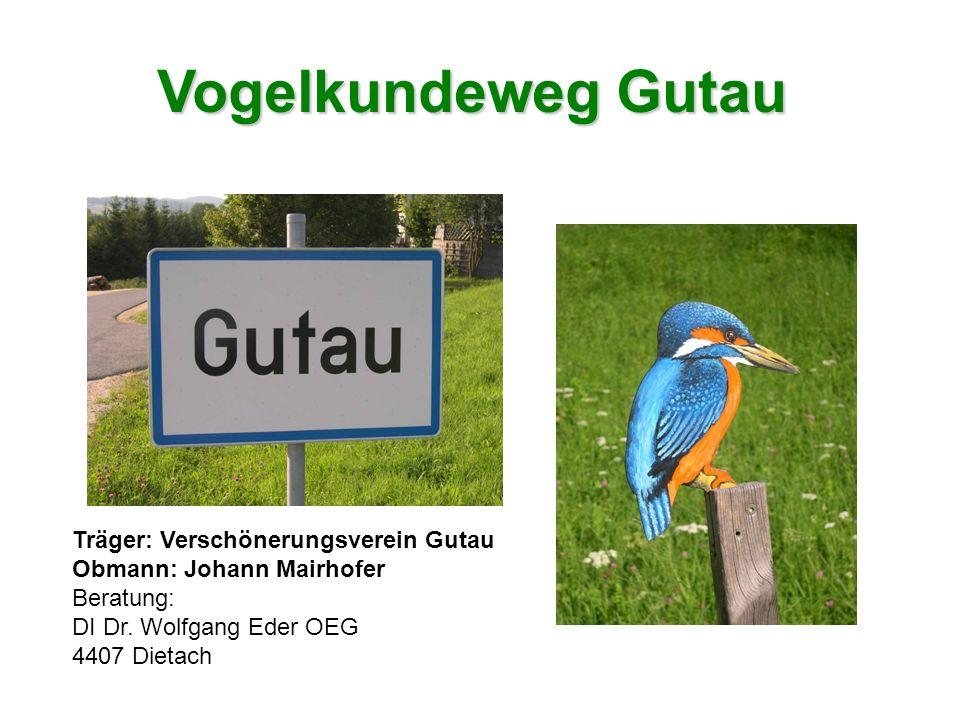 Vogelkundeweg Gutau Träger: Verschönerungsverein Gutau Obmann: Johann Mairhofer Beratung: DI Dr. Wolfgang Eder OEG 4407 Dietach
