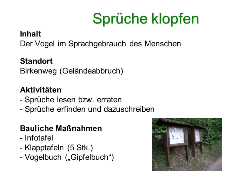 Sprüche klopfen Inhalt Der Vogel im Sprachgebrauch des Menschen Standort Birkenweg (Geländeabbruch) Aktivitäten - Sprüche lesen bzw. erraten - Sprüche
