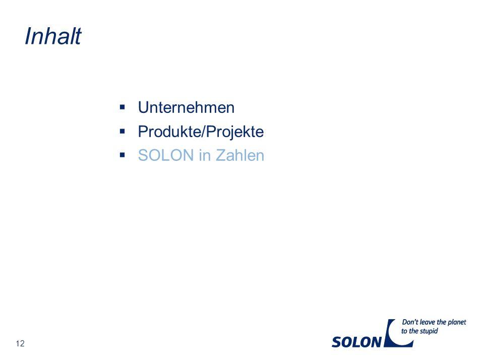 12 Unternehmen Produkte/Projekte SOLON in Zahlen Inhalt