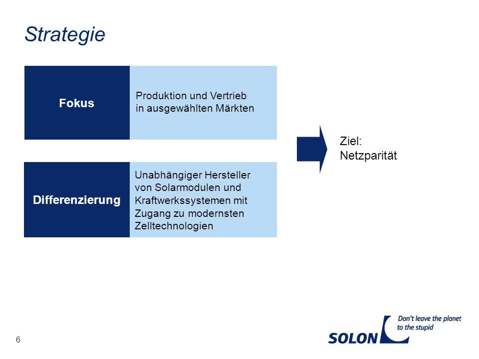 6 Strategie Ziel: Netzparität Fokus Differenzierung Unabhängiger Hersteller von Solarmodulen und Kraftwerkssystemen mit Zugang zu modernsten Zelltechn