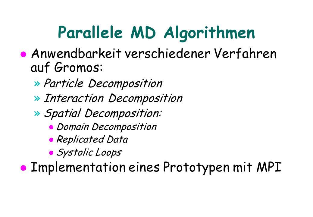 Parallele MD Algorithmen Anwendbarkeit verschiedener Verfahren auf Gromos: »Particle Decomposition »Interaction Decomposition »Spatial Decomposition: l Domain Decomposition l Replicated Data l Systolic Loops Implementation eines Prototypen mit MPI