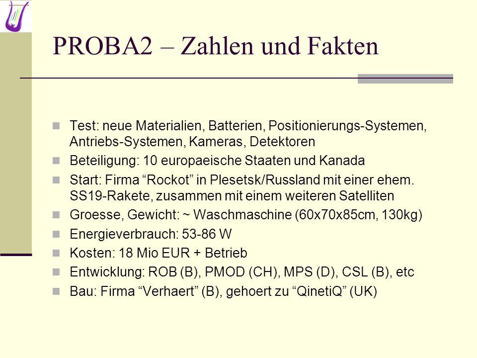 PROBA2 – Zahlen und Fakten Test: neue Materialien, Batterien, Positionierungs-Systemen, Antriebs-Systemen, Kameras, Detektoren Beteiligung: 10 europae